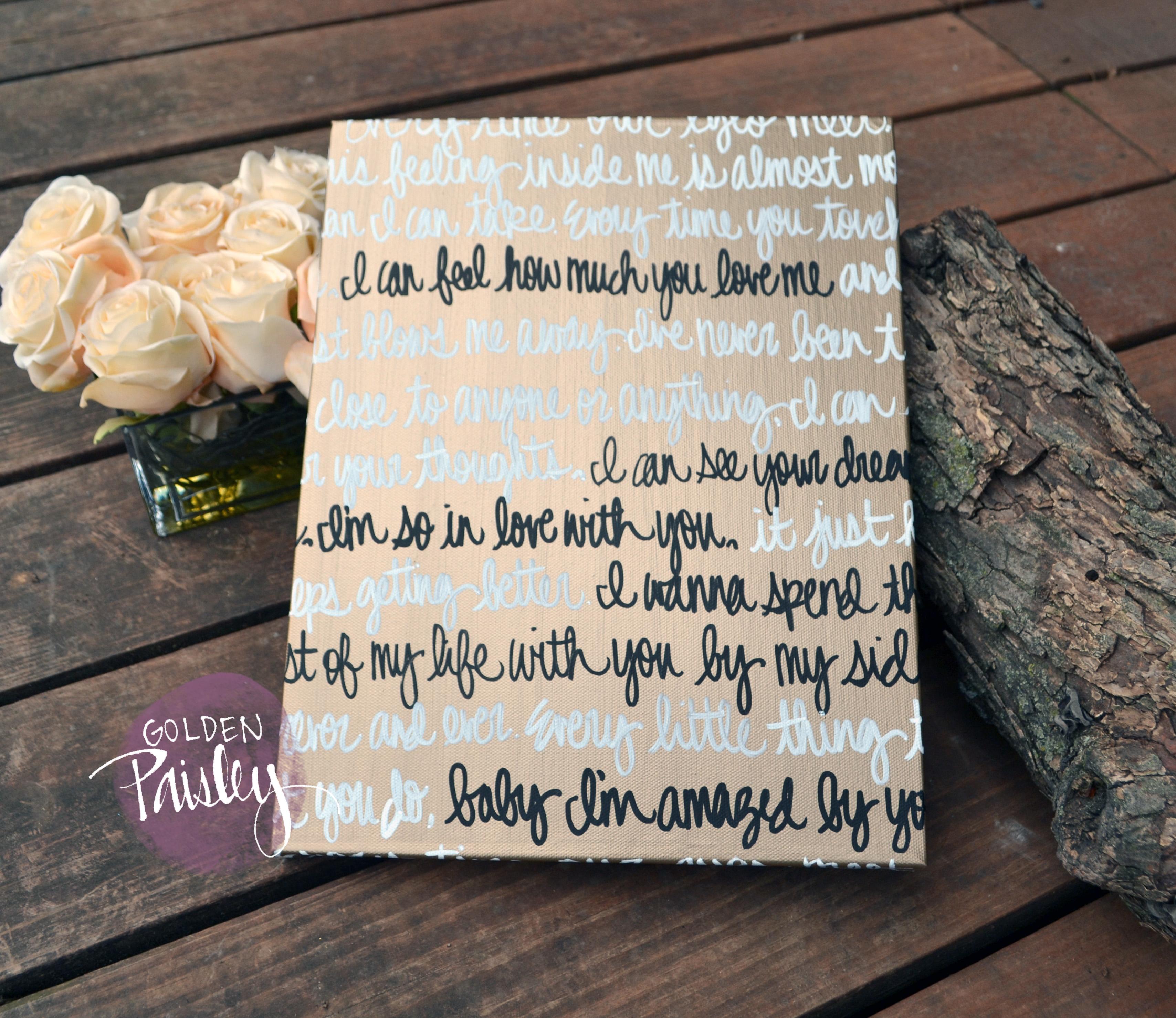 Wedding Vow Artwork: Deep Gold Wedding Vow Art