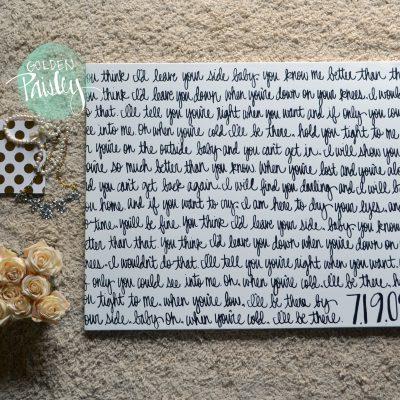 wedding vows on canvas