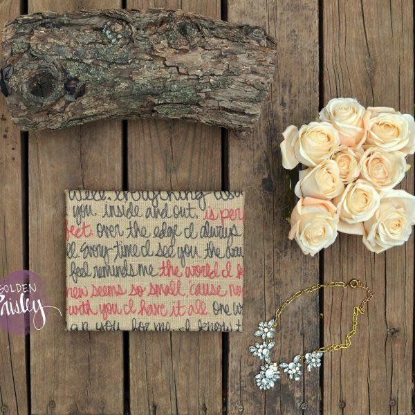 burlap wedding vow art