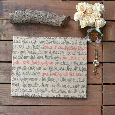 burlap canvas wedding vows song lyric art