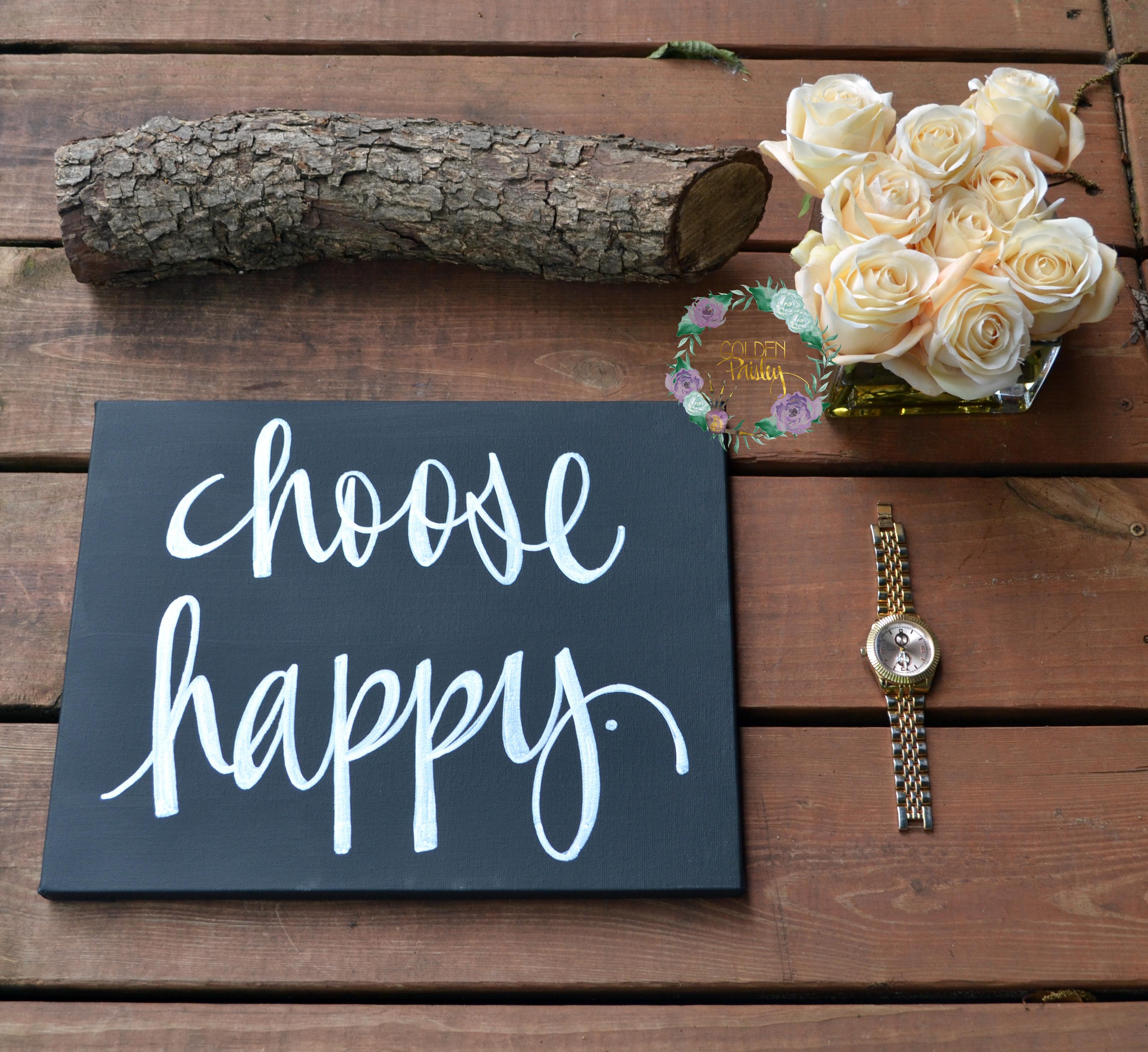 Choose Happy Canvas Quote Art