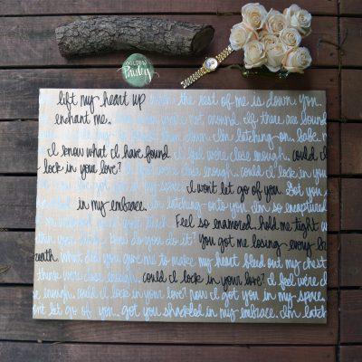 song lyric wedding decoration