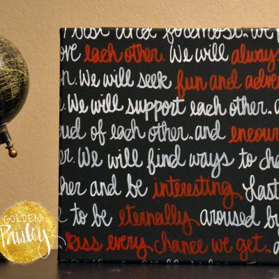 wedding vow painting wedding keepsake