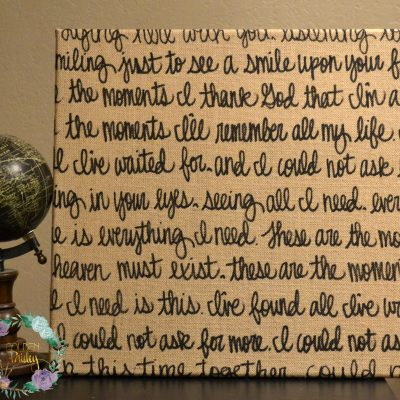 burlap sign wedding vows