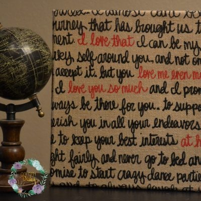 burlap canvas painting wedding vows