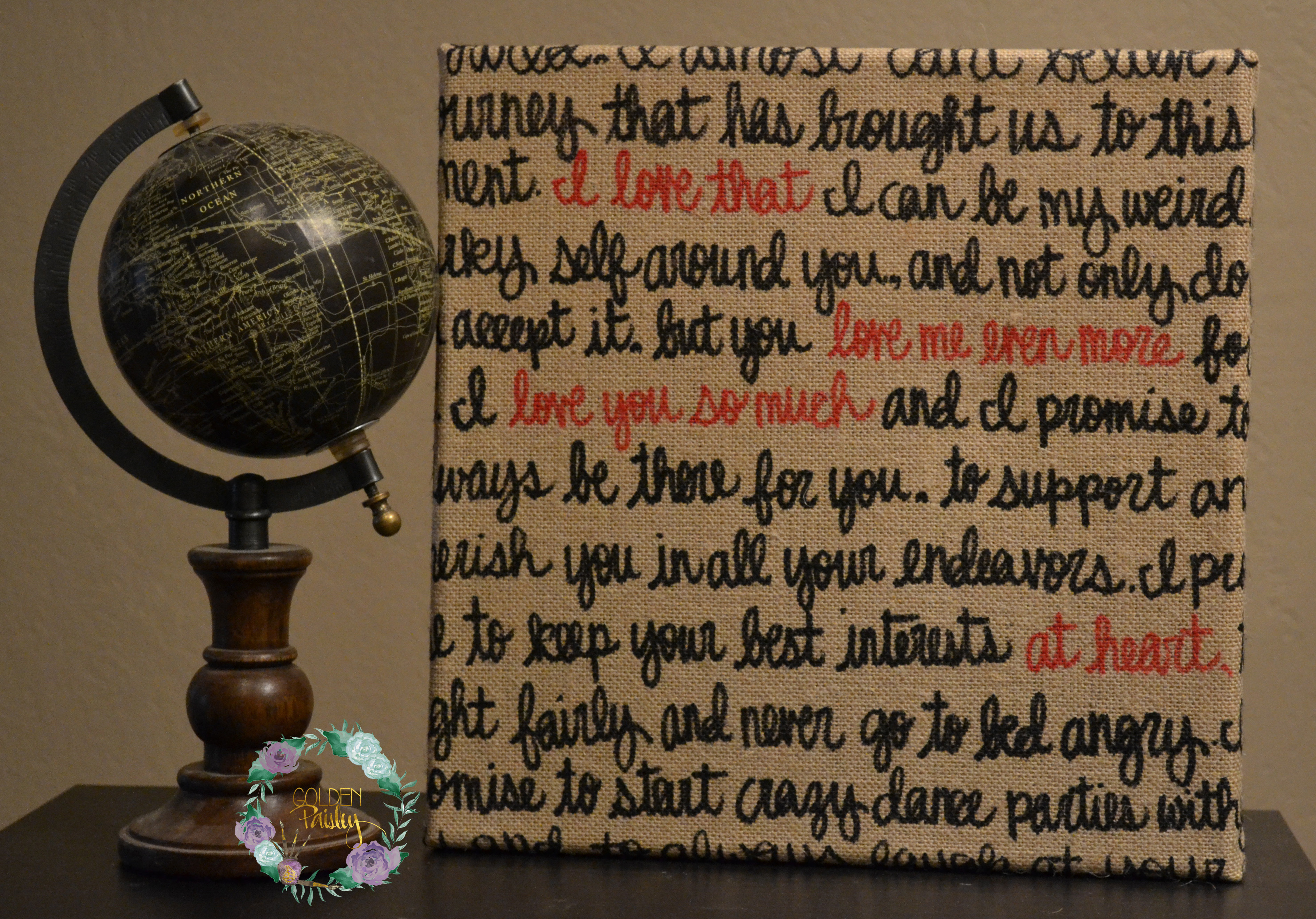 Black And Red Burlap Wedding Vow Art