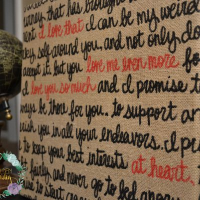 golden paisley wedding vows on canvas
