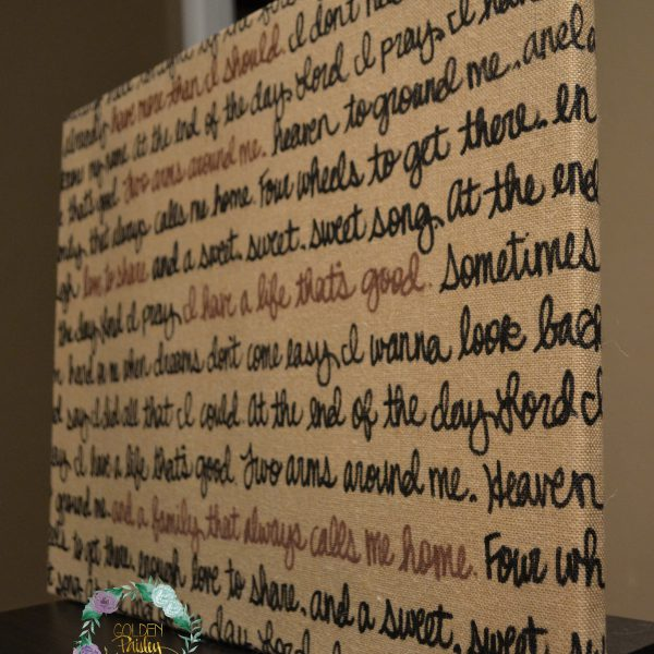 burlap wedding vow art
