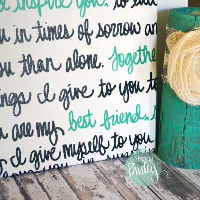 wedding vows on canvas sign