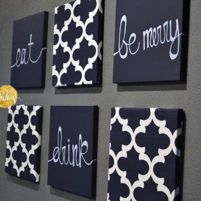 six piece wall art set navy blue