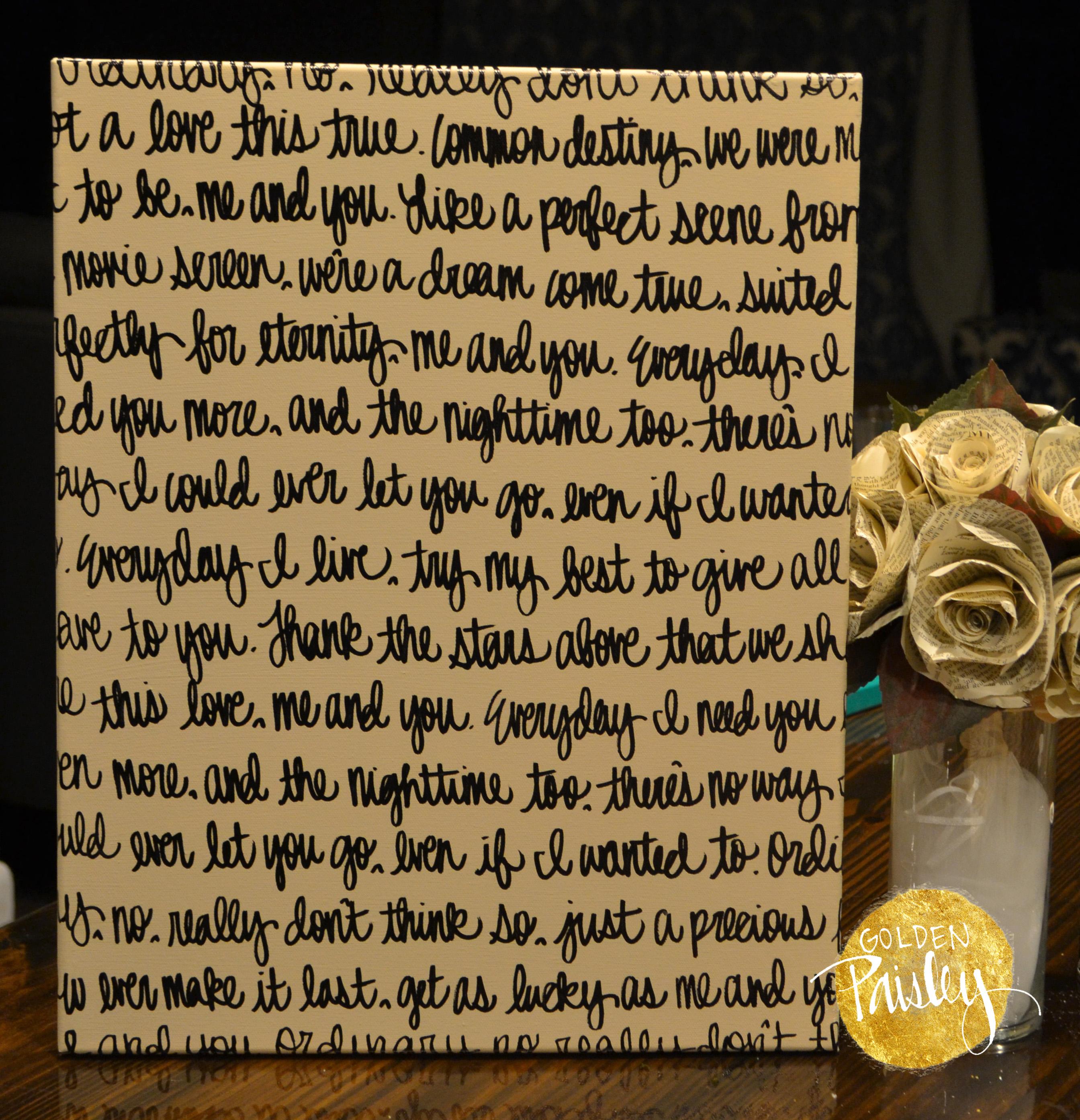 Wedding Vow Artwork: Cream & Black Wedding Vow Art Painting