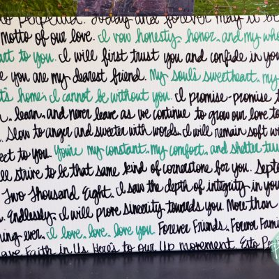 song lyric canvas painting teal green