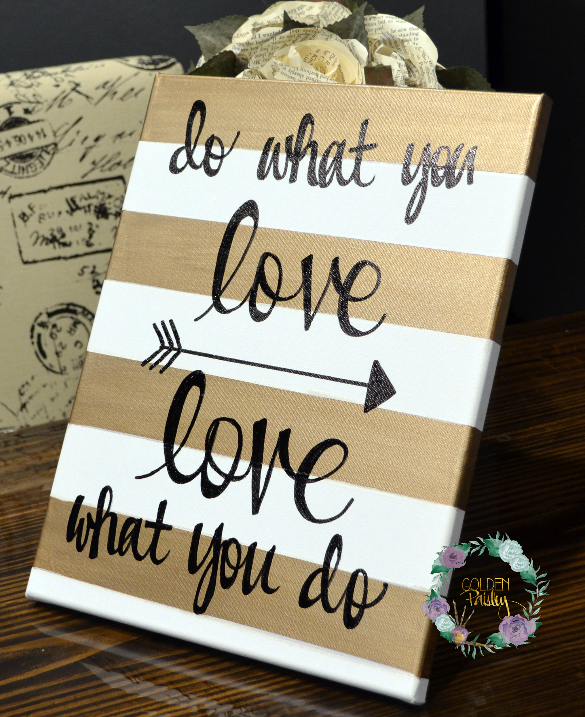 Do What You Love Striped Inspirational Painting