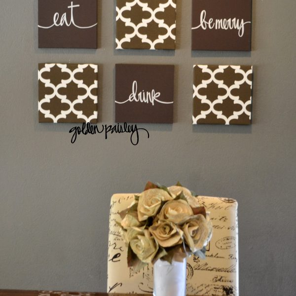 brown moroccan eat drink be merry wall art set