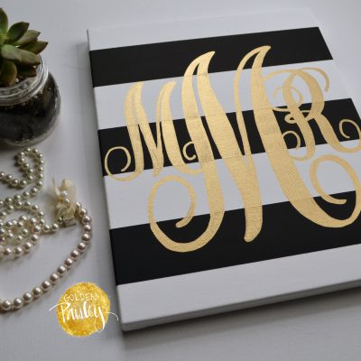 monogram striped canvas painting