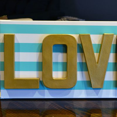 striped LOVE canvas art sign