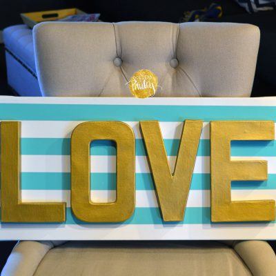 LOVE 3d wall art turquoise