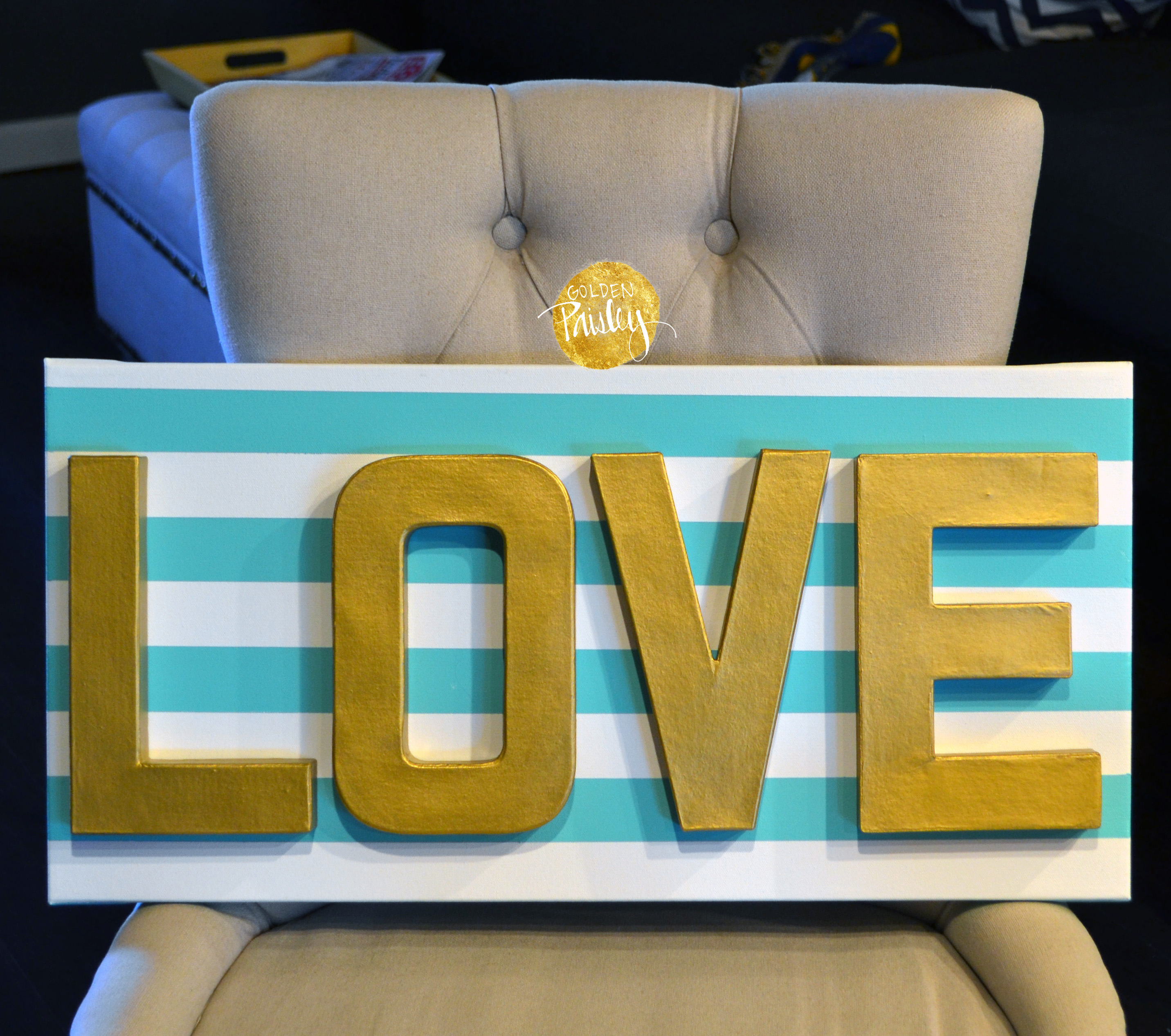 LOVE Striped 3D Canvas Art
