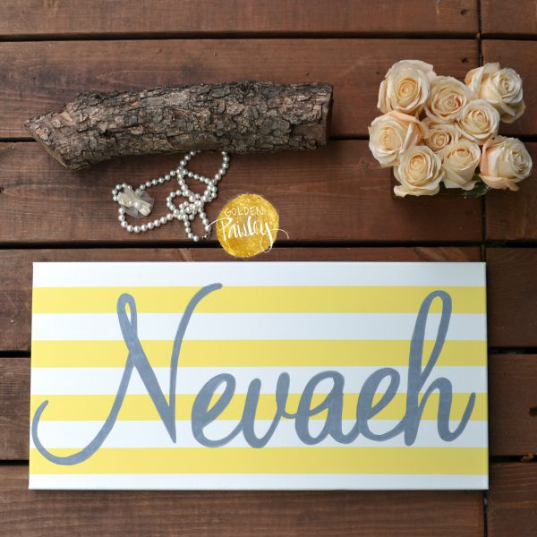 personalized name painting yellow and gray