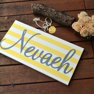 customized name painting nursery art yellow