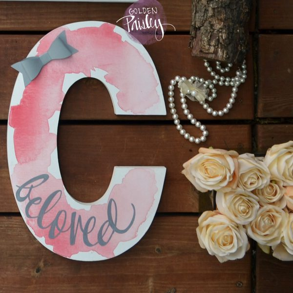 custom nursery monogram letter watercolor