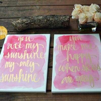 pink watercolor quote painting set nursery decor