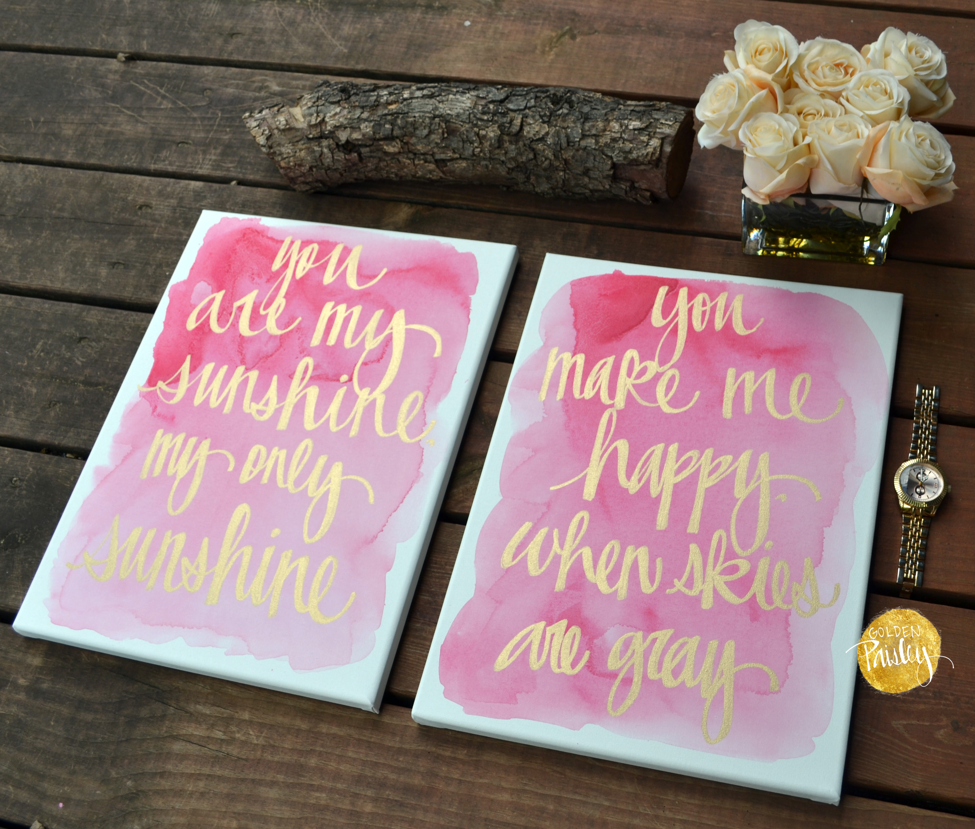 You Are My Sunshine Watercolor Painting Set Nursery Wall Art Decor