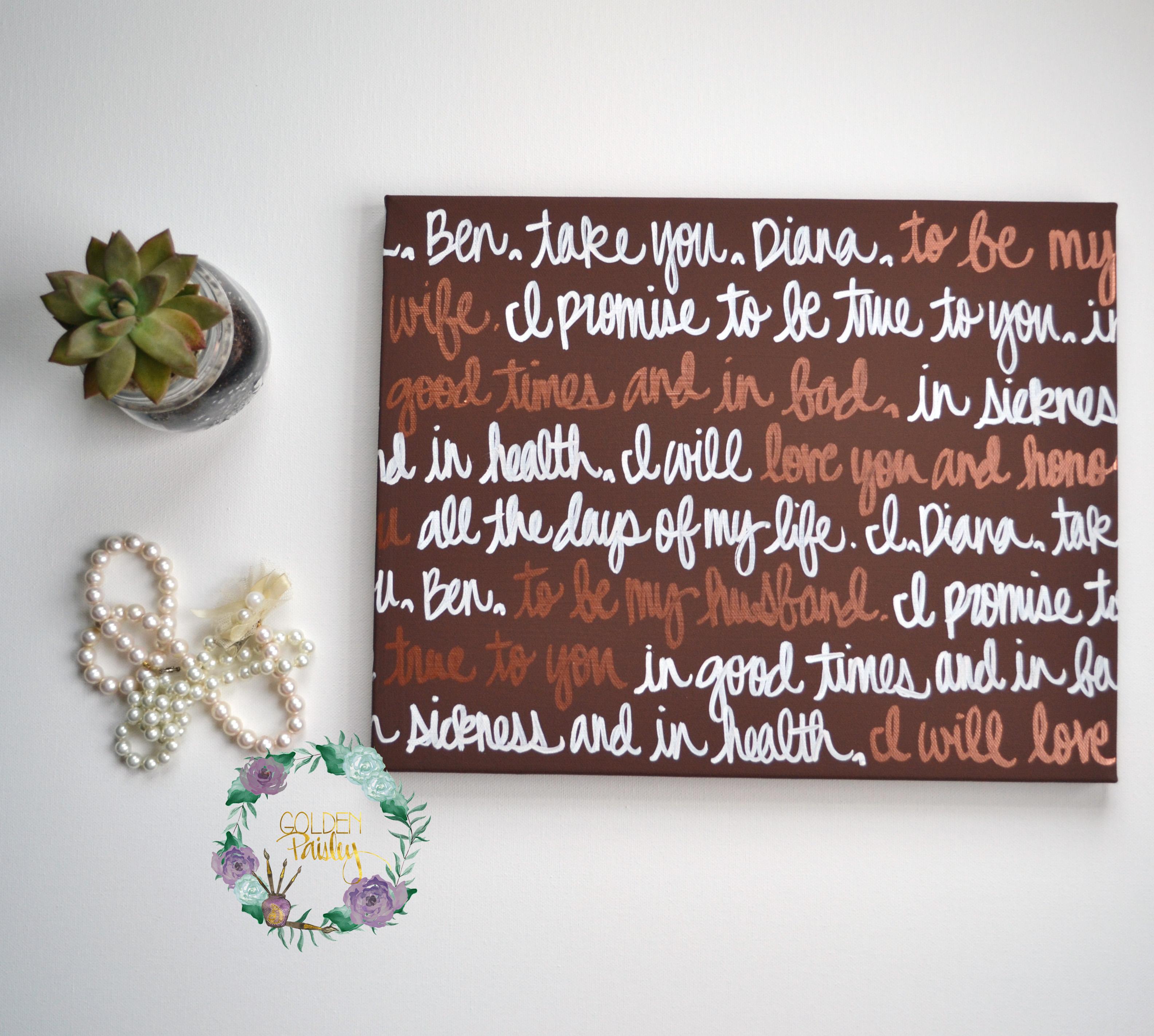 Brown And Bronze Wedding Vow Art