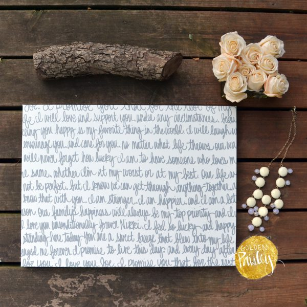 custom anniversary gift wedding vows on canvas