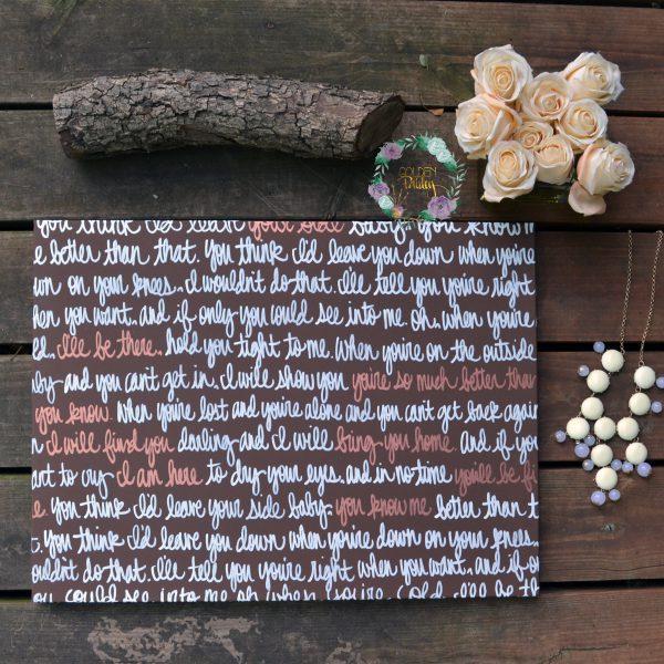 brown bronze wedding vow art