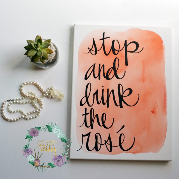 stop and drink the rose canvas painting watercolor