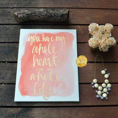 coral watercolor canvas painting hand lettering