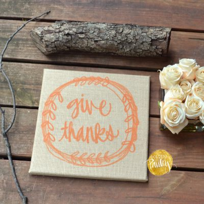 burlap sign give thanks thanksgiving decoration