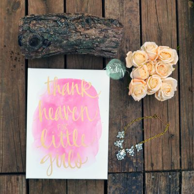 hand lettering watercolor canvas art pink nursery wall decor