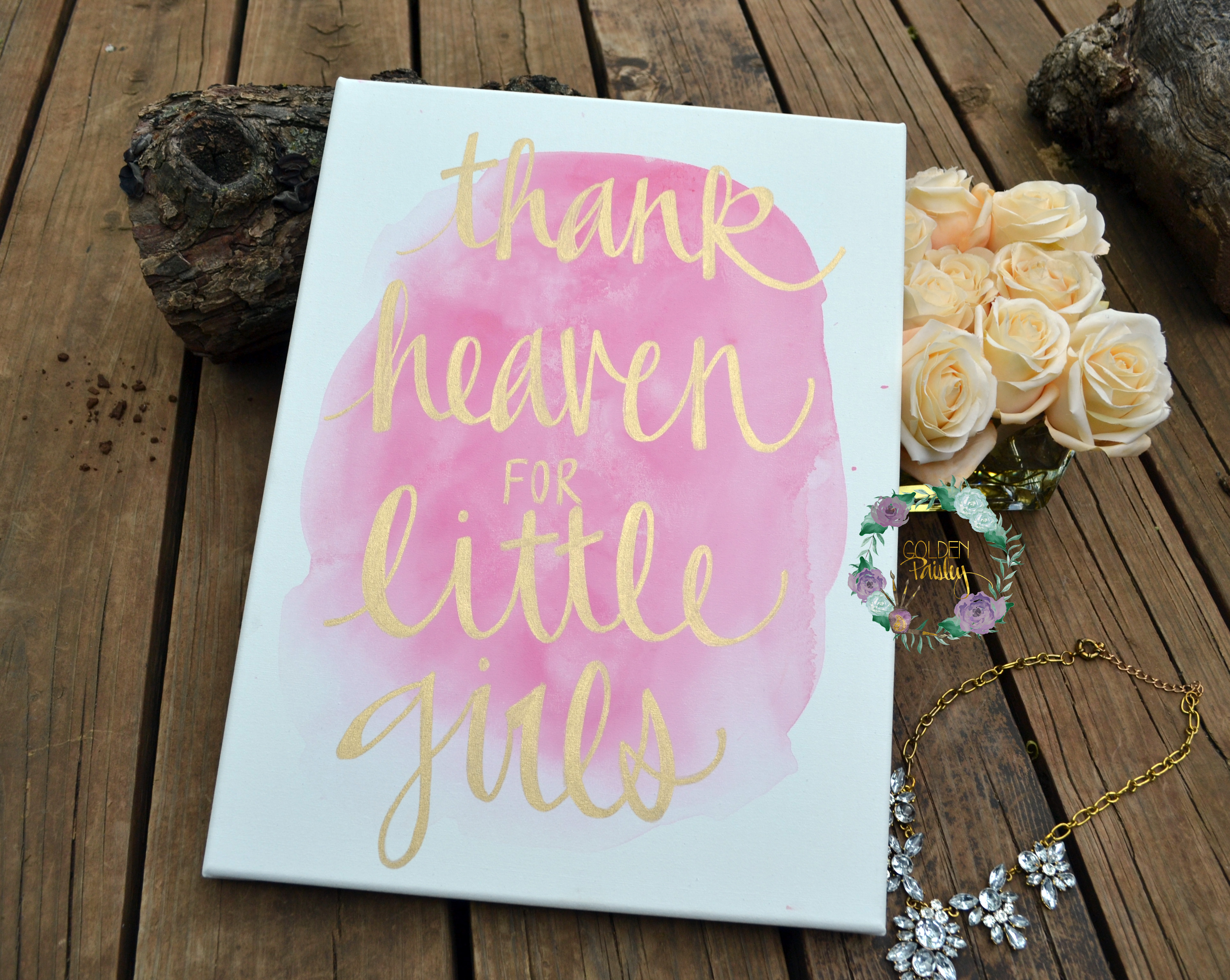 Thank heaven for little girls watercolor painting