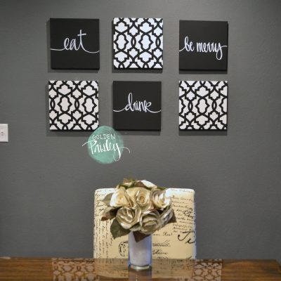 black and white wall decor dining art set