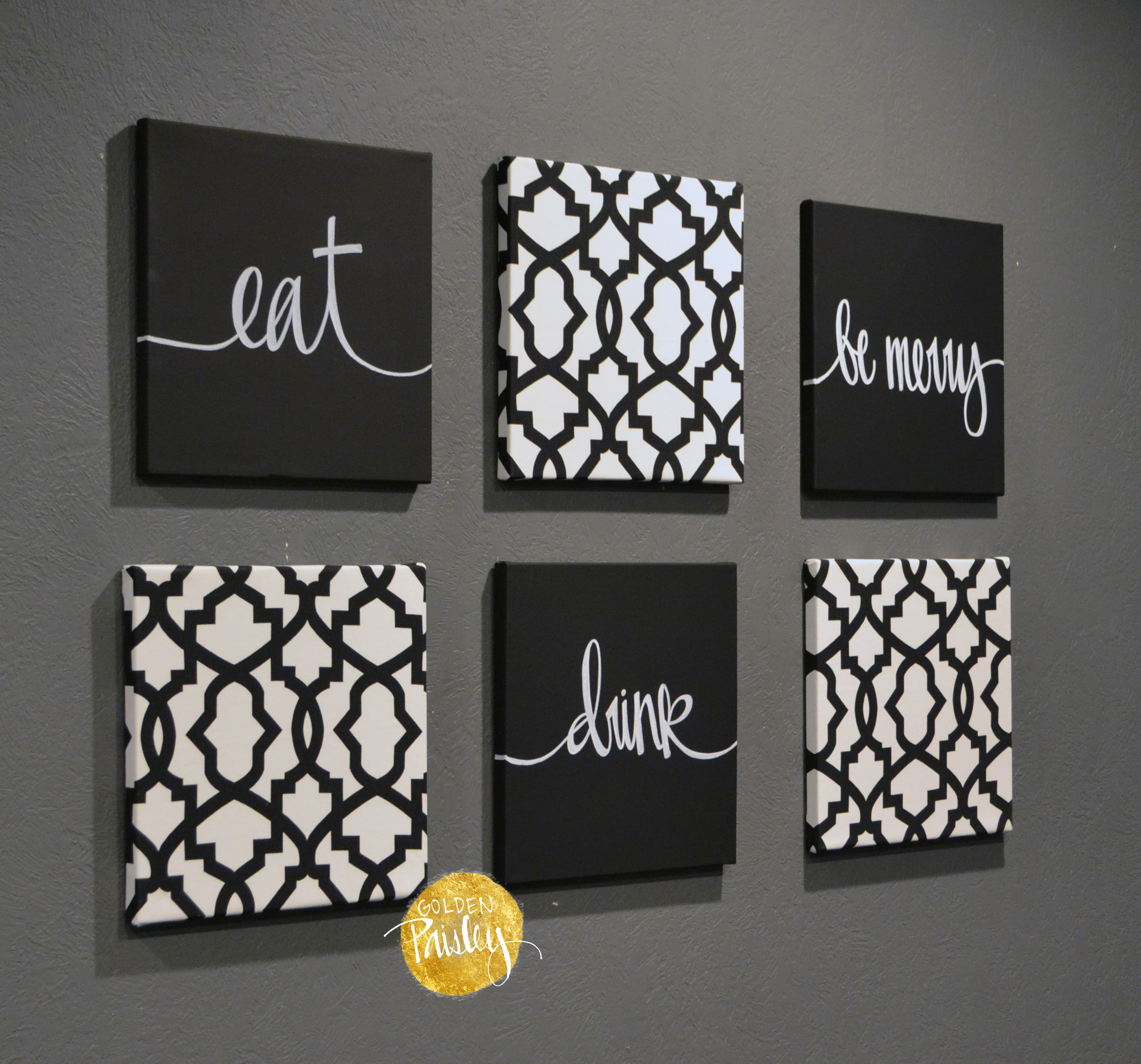 Eat Drink Be Merry Wall Art Set Black And White ...
