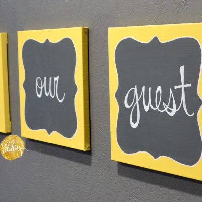 Yellow And Gray Wall Decor be our guest wall decor set
