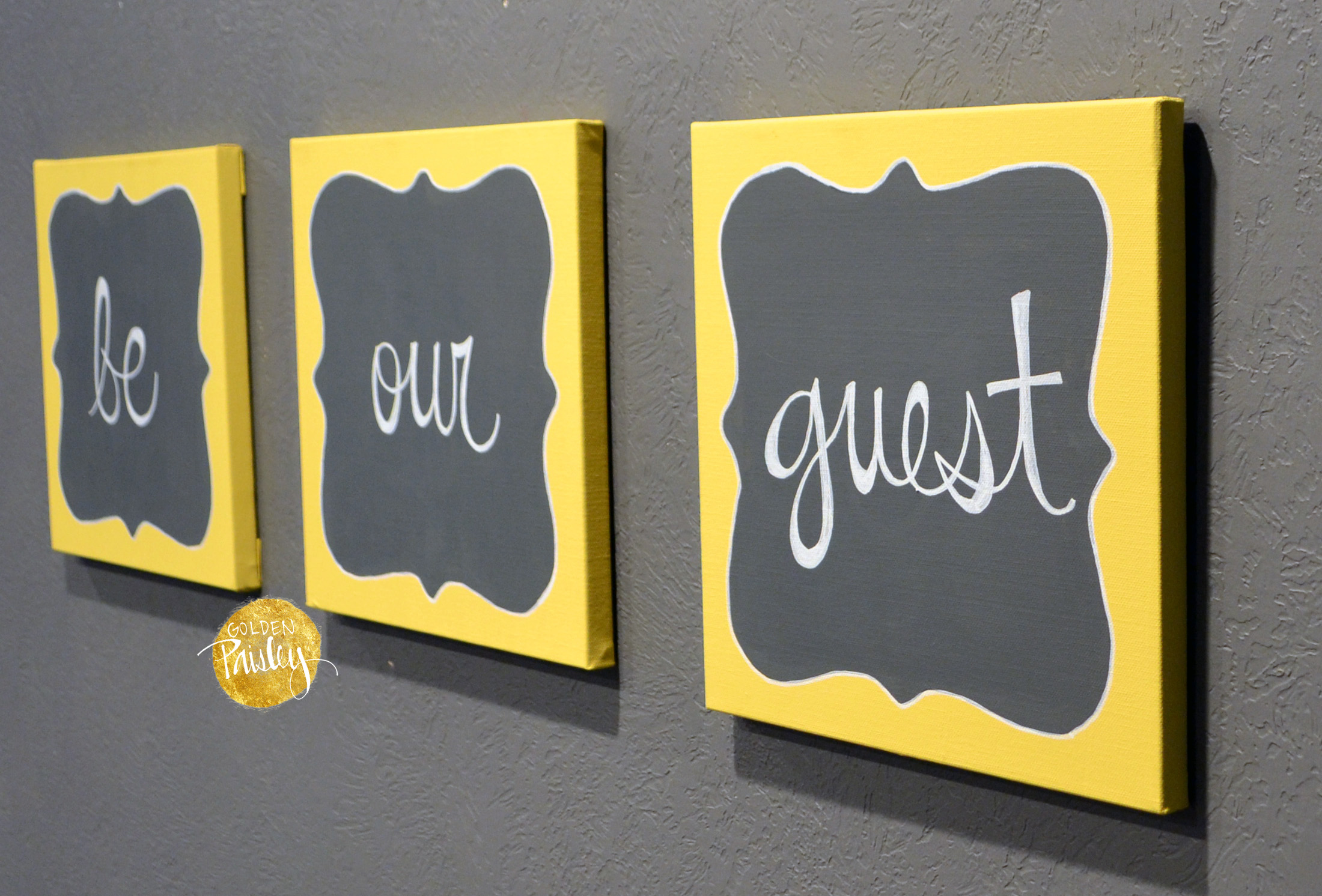 Be our guest wall decor set for Wall decor for yellow walls
