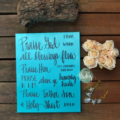 doxology hand lettering canvas painting wall decor