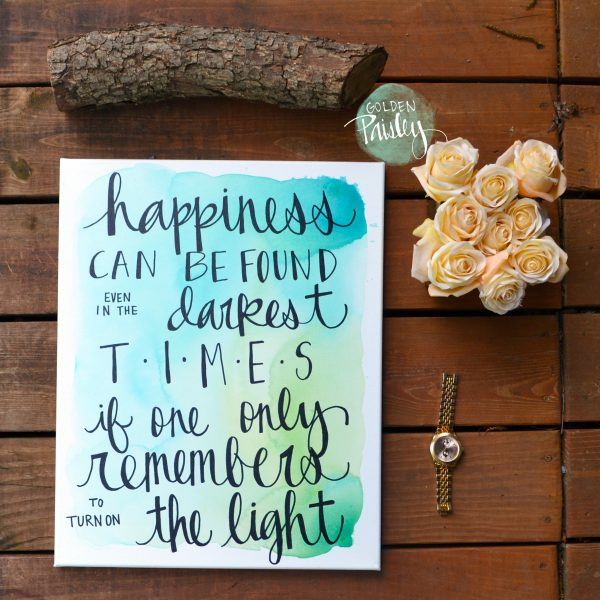 watercolor quote art canvas painting