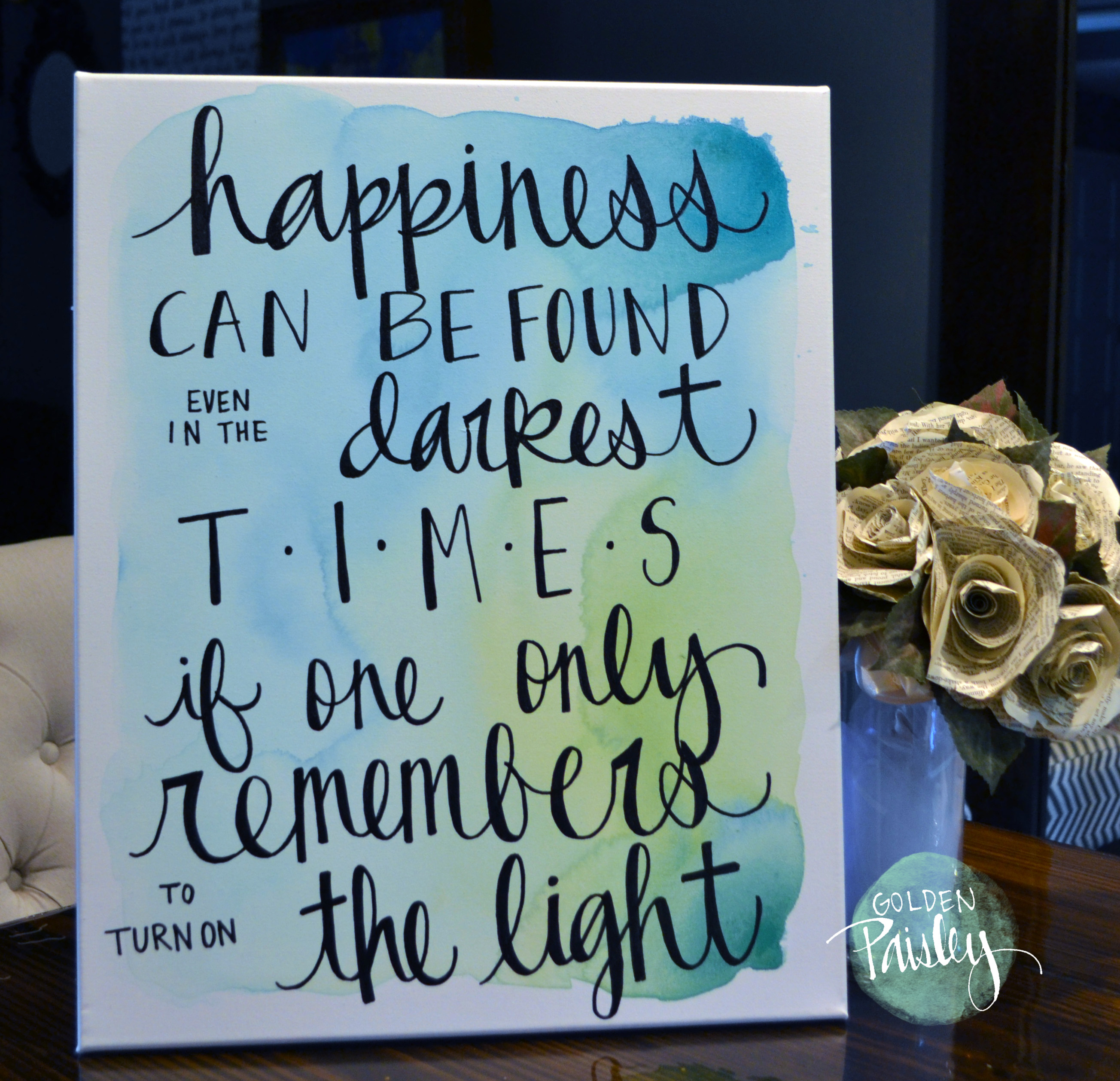 "Quotes Wall Art Happiness Watercolor Quote Wall Art ""The Light"""