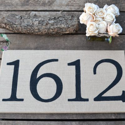 burlap sign house numbers housewarming gift