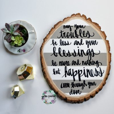 wood slice painting quote art wall art