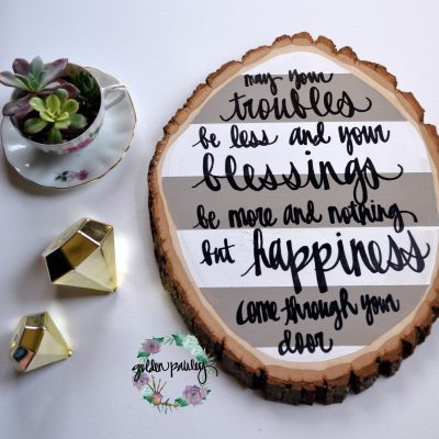striped wood slice painting irish blessing quote