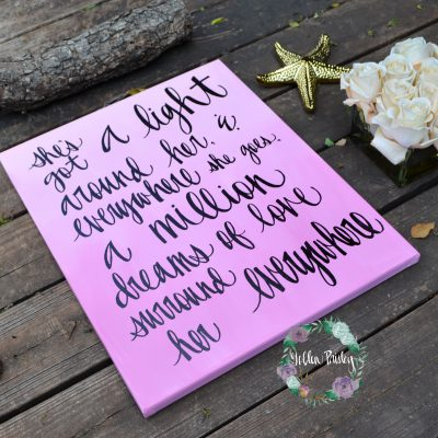 pink wall art hand lettering decor