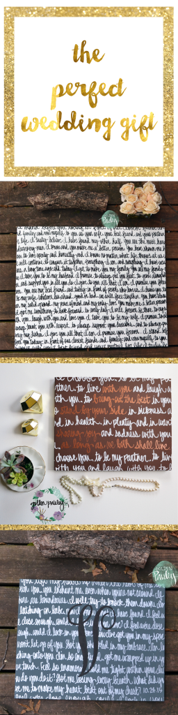 get your wedding vows painted on canvas for the perfect wedding or anniversary gift!