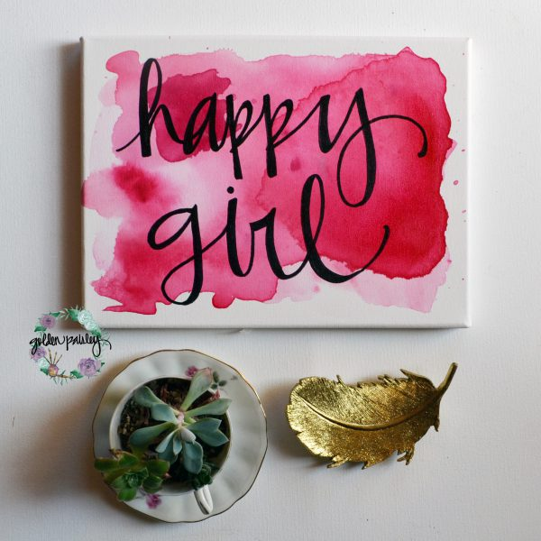 watercolor wall art wall decor hot pink happy girl painting