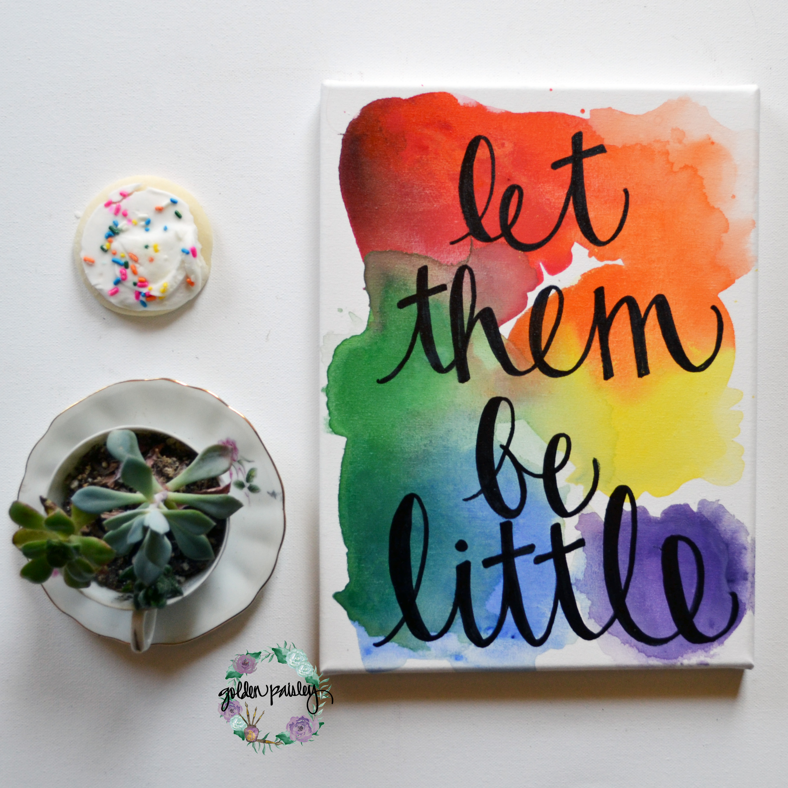 """Rainbow """"let them be little"""" Watercolor"""