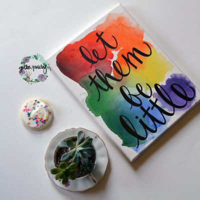 rainbow watercolor canvas painting